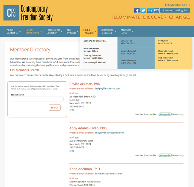 The current member directory of the Contemporary Freudian Society is one illustration for the case study of the nonprofit marketing reset we provided.