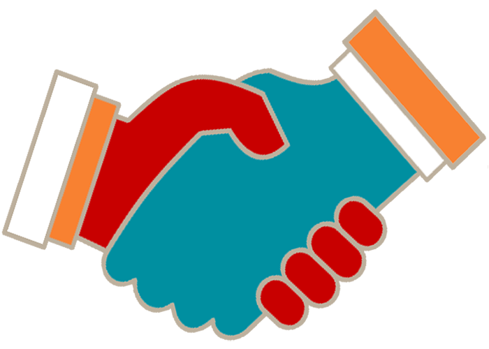 Colorful handshake icon symbolizes the Public Voice NY client list.