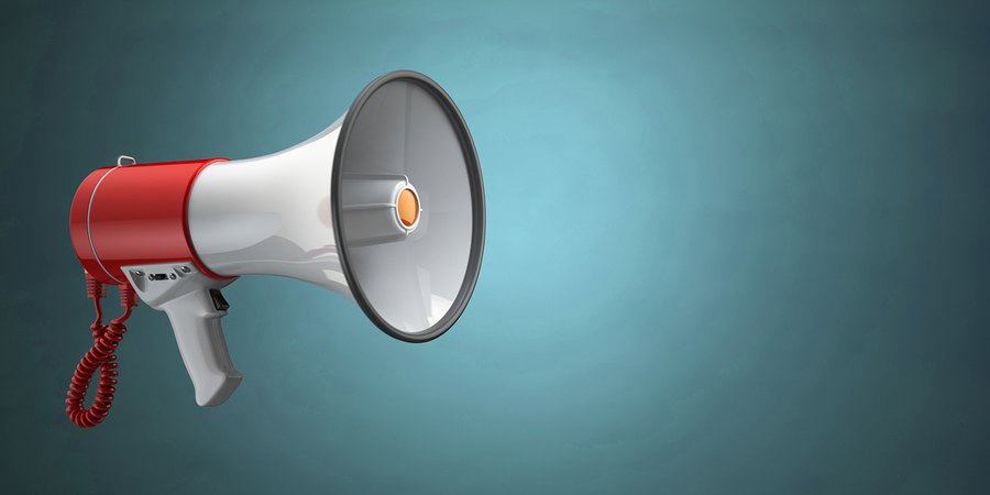 Photo of a colorful megaphone illustrates the impact of a Public Voice NY Blog subscription.