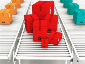 Conveyor belt delivering colorful boxes as metaphor for nonprofit communications retainer plans