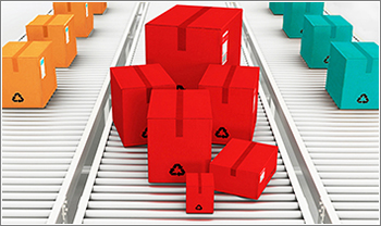 Conveyer belt delivering colorful boxes as metaphor for nonprofit marketing and communications retainer plans