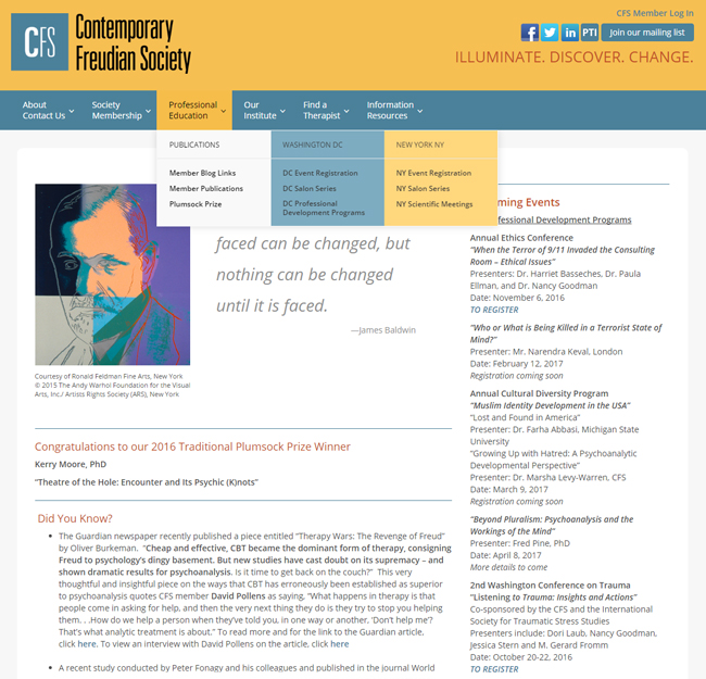 The current homepage of the Contemporary Freudian Society is one illustration for the case study of the nonprofit marketing reset we provided.