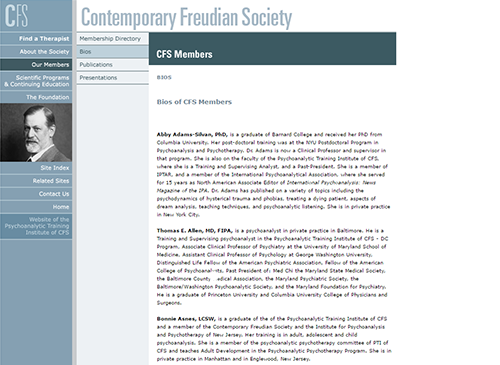 The previous member directory of the Contemporary Freudian Society is one illustration for the case study of the nonprofit marketing reset we provided.