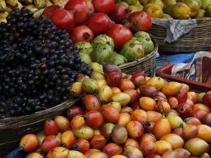 Lush fruit at market as metaphor for engaging content marketing