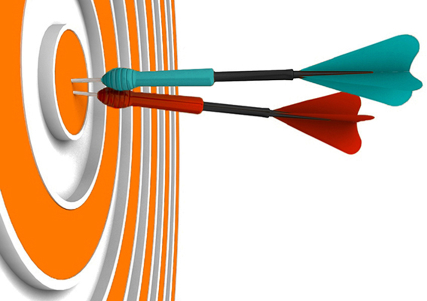 Colorful image of a target and darts illustrates hitting goals marketing a special event or campaign.