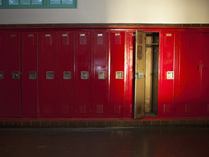 Row of empty lockers illustrates how words fail for student on day MLK was assasinated.