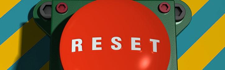 Big red reset button symbolizes a nonprofit communications reset.