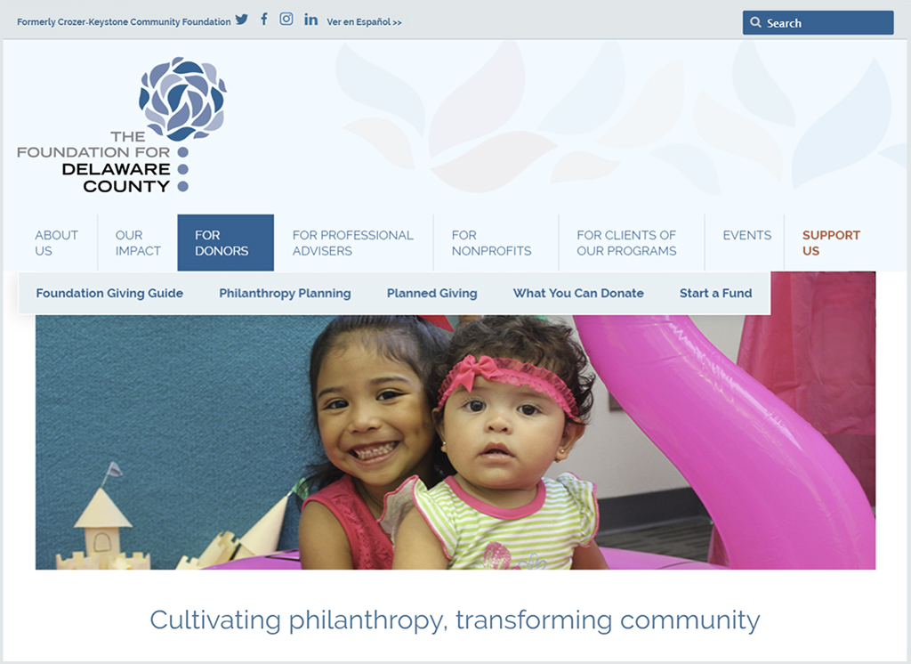 The Foundation for Delaware County website illustrates how we delivered complete nonprofit communications services.